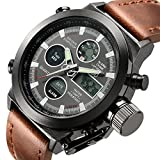 Tamlee Fashion Leather Men's Military Watches Multifunctional Digital Watch Men Sports Watch