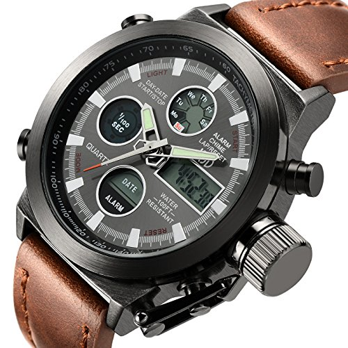 Tamlee Fashion Brown Leather Men's Military Watch Waterproof Analog Digital Sports Watches for Men