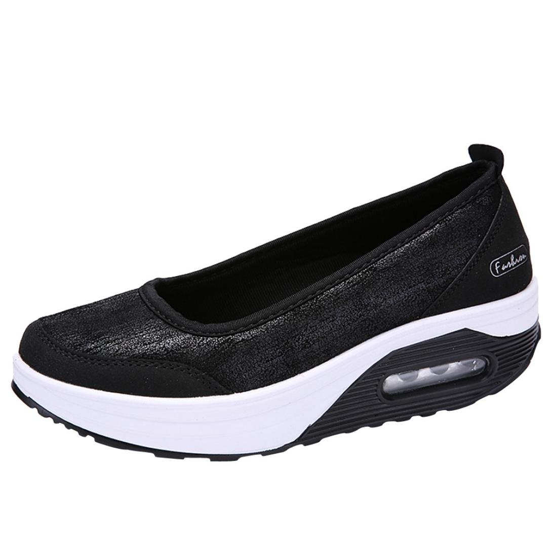 Big Promotion! Women Casual Shoes, Neartime 2018 Fashion Air Cushion Platform Shoes Shallow Round Toe Sport Sneakers (US:8, Black) by Neartime Sandals (Image #2)