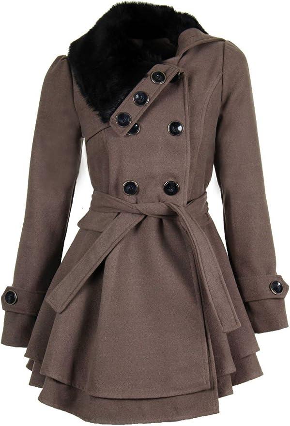 laeticia dreams damen mantel jacke winterjacke mantel mit fellkragen