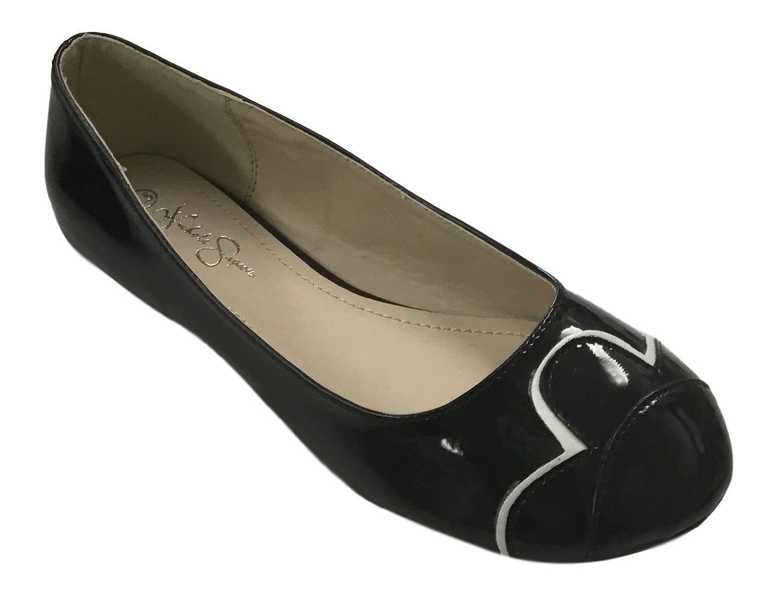 Nichole Simpson Nicole Simpson Womens Slip-on Petal Patent Ballerina Flat Shoes B07B8QQ6F4 9 B(M) US|Black