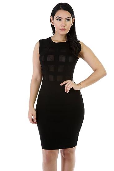 5d1df8c0b69d GITI ONLINE Boxed Mesh Front Bodycon Dress S Black at Amazon Women's ...