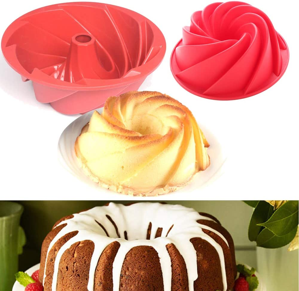 SHEANAON Gugelhupfform - Molde para Hornear de Silicona Bundt Gugelhupf con Revestimiento Antiadherente para Chocolate, Hornear, Tarta, Galletas, ...