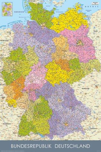 Poster Bundesrepublik Deutschland Karte Mit Postleitzahl Bereichen
