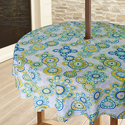 Sobibo Heavyweight Wrinkle-Free Stain Resistant Waterproof Outdoor Tablecloth with Umbrella Hole and Zipper,60 Inch Round, Seats 4 People