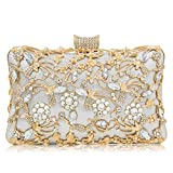 Glitter Crystal Clutches Bridal Evening Bags And Clutches For Women Large Handbag Clutch Purse With Strap (Silver)