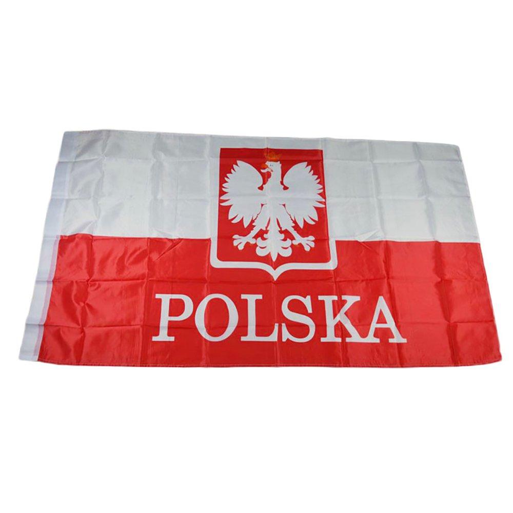 Naisicatar Polonia bandiera 0,9x 1,5m poliestere Bandiera con 2occhielli in ottone per esterni e interni, decorazione grande Polonia bandiera 90x 150cm