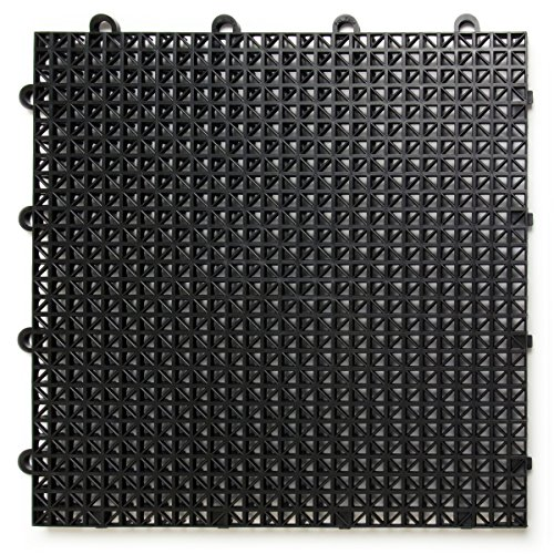 DuraGrid CR48BLAK, Black Cross-Rib Design, Interlocking Modular Self-Draining Multi-Use Safety Floor Matting (48 Pack), Piece