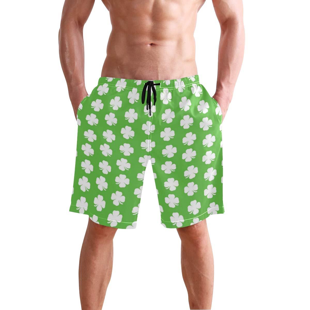 DongDongQiang Men Summer Shamrock Ireland Quick Dry Volleyball Beach Shorts Board Shorts