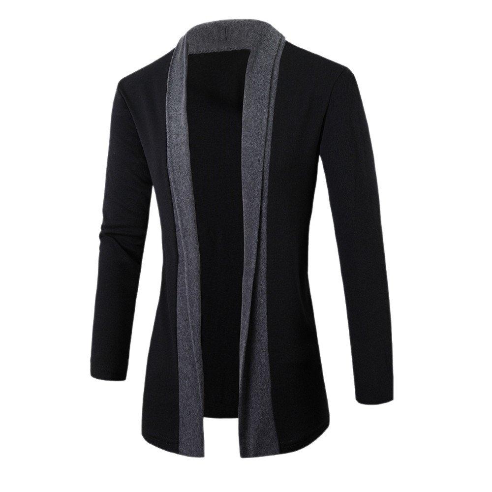 Fashion Mens Cardigan Jacket Slim Fit Long Sleeve Casual Pullover Sweatshirts No Hood Outerwear Coat