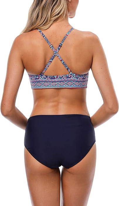 a28625d08ee Womens Crop high Neck Bikini Swimsuit Aztec Swimwear Padded Bathing ...