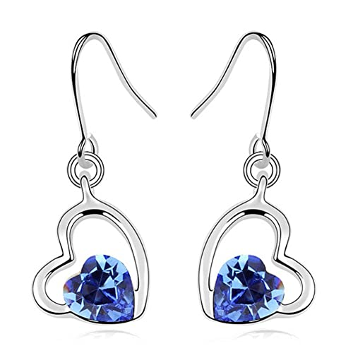 Latigerf Double Heart Earring White Gold Plated Swarovski Elements Crystal