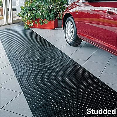 GARAGE AND WALKWAY STUDDED BLACK RUBBER FLOORING 1000MM X 10M. 4.5MM THICK (INCLUDING 1.5MM FOR STUD) by BiGDUG
