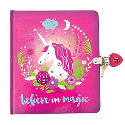 Playhouse Believe in Magic Unicorn Shiny Foil Cover Lock & Key Lined Page Diary for Kids: Toys & Games
