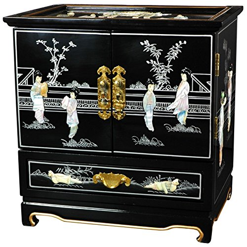 Oriental Furniture Empress Lacquer Jewel Box (Black)