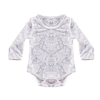 Longra Body Bébé Fille Garçon Manches Longues Combinaisons en Dentelle Bébé  Body Enfant T-Shirt 557b68ebc03