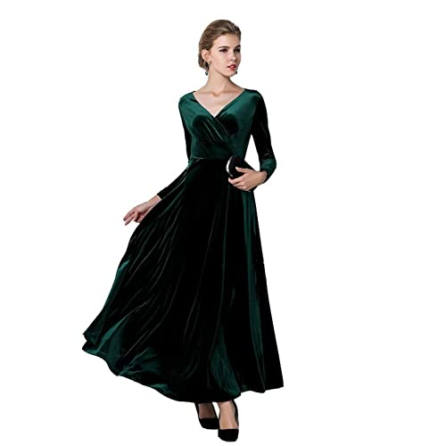 atopdress@Elegant Velvet Ruffle Long Sleeve Evening Party Ball Gown Long Maxi Dress