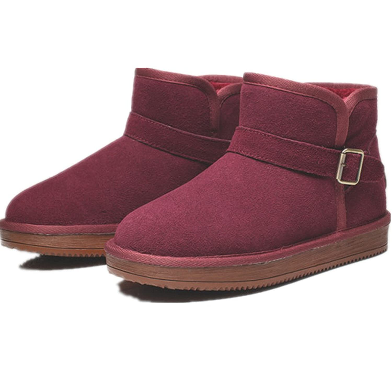 Fur Covered Womens Snow Boots Fully Fur Lined Waterproof Winter Snow Boots with Buckles Wine Red