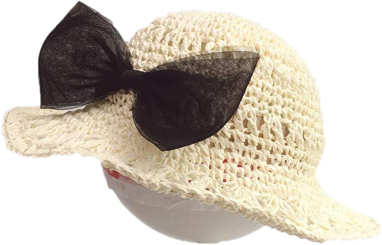 Elibone Baby Summer Child Beach Hat Female Casual Kids Flat Brim Bowknot Straw Cap Glris Sun Hat 2-6Y