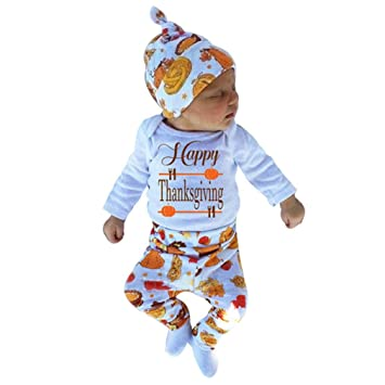 810e12c53c30 Amazon.com : Keepfit Newborn Infant Baby Girl Thanksgiving Outfit Letter  Romper Tops+Pants+Hat Clothing Set (9 Months, White) : Baby