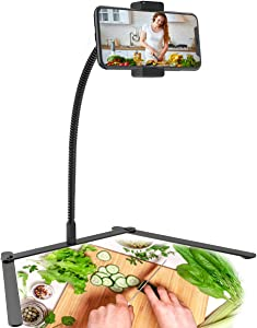 Adjustable Tripod Cellphone Holder, Overhead Phone Mount, Table Top Teaching Online Stand for Live Streaming and Online Video and Food Crafting Demo Drawing Sketching Recording.