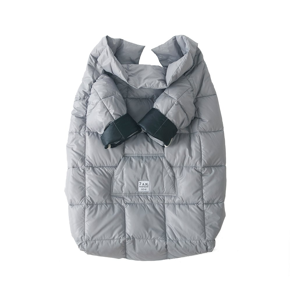 7AM Enfant Easy Cover, Reversible and Wearable Blanket, Stroller and Car Seat Cover (Grey, Large 3y - 6y)