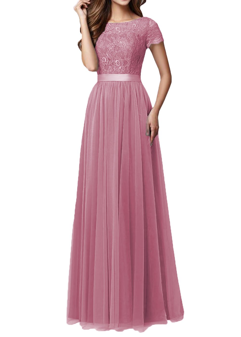 DYS Women's Lace Bridesmaid Dress Sleeves Tulle Prom Evening Dresses Long Blush US 8