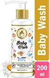 Mom & World Baby Wash - Tear Free Gentle Cleansing for Hair & Body, 200ml (No SLS, Paraben) - with Argan & Almond Oil