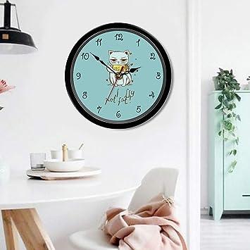 Reloj de casa Oficina en casa Habitación Decorativa de Dibujos Animados Fumar Cartas de Gato Imprimir ...