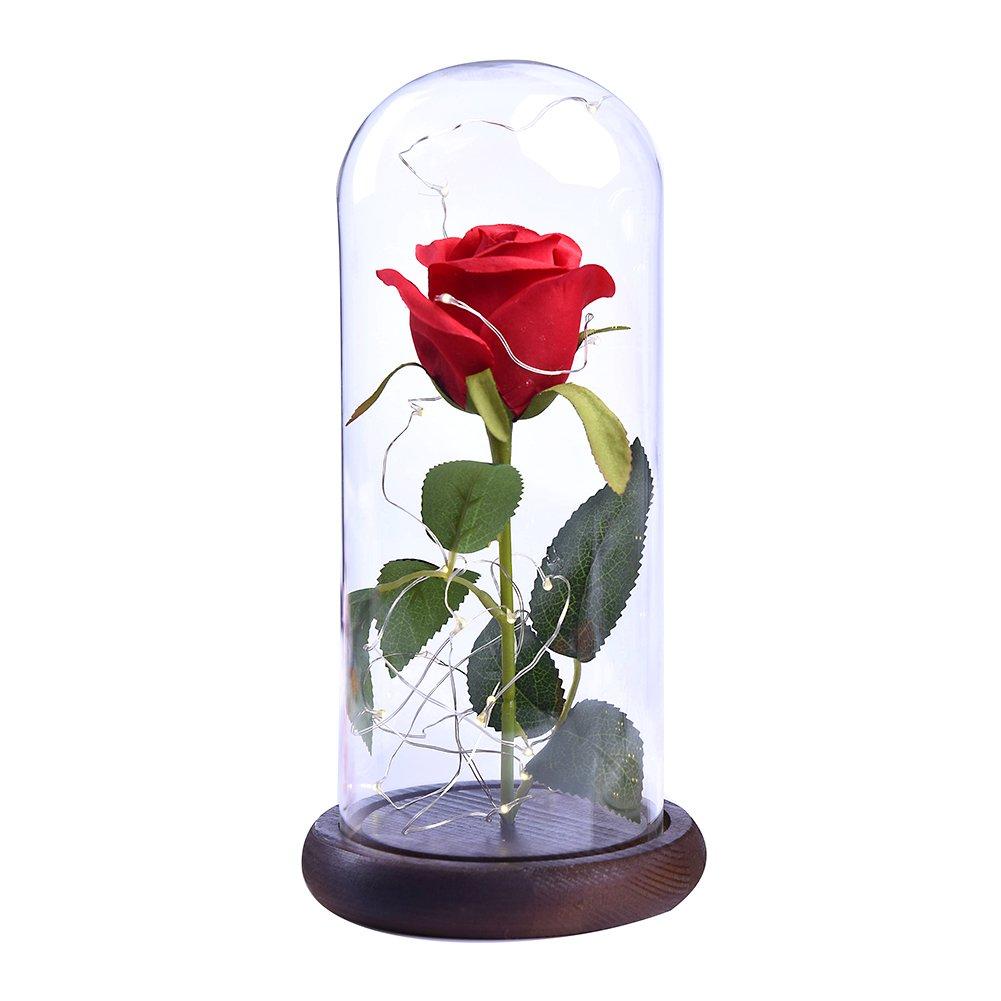Etopfashion Beauty and The Beast Red Rose Scenery Cubierta de Cristal Artificial Led en una cúpula