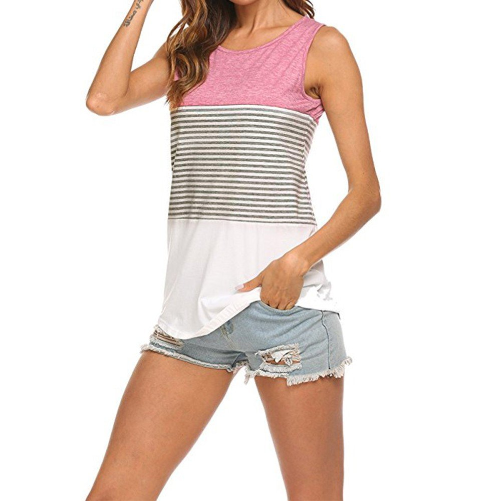 Roemdia Woman's Casual Round Neck Sleeveless Striped Summer Tank Tops Blouse Pink