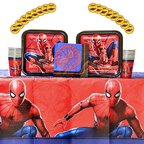 (Spiderman Party Supplies Pack for 16 Guests | Includes Stickers, Dinner Plates, Luncheon Napkins, Cups, and Table Cover | Spiderman Birthday Party Supplies | Superhero Birthday Party)
