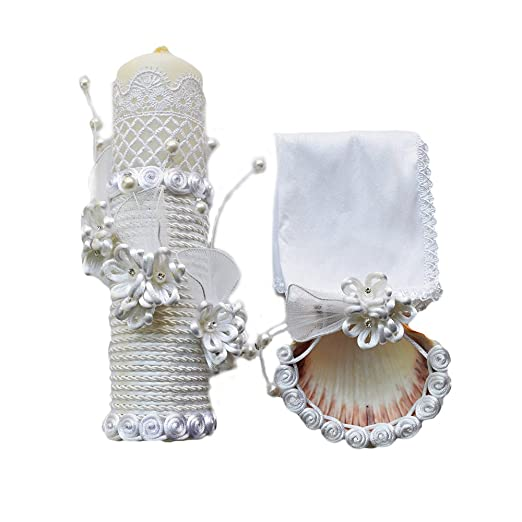 Amazon.com : Handmade Catholic Baptism Kit Including Towel, Candle and Shell Kit De Bautizo Religious Gift (Modelo 4, White) : Baby
