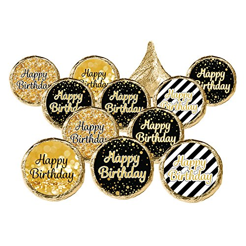 - Happy Birthday Party Favor Stickers - Black and Gold (Set of 324)