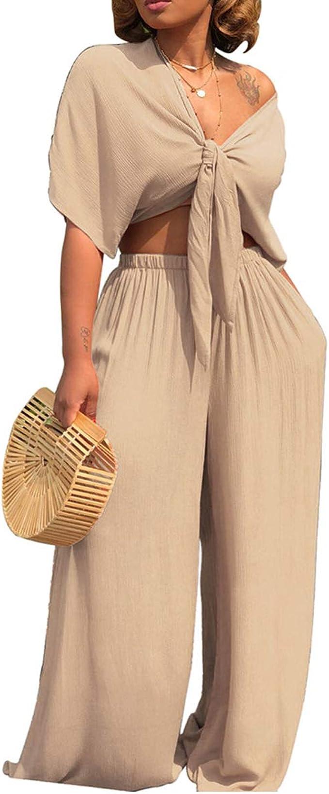 New Fashion Women/'s Draped Sleeveless Solid Color Casual Wide Leg Pants Set Club