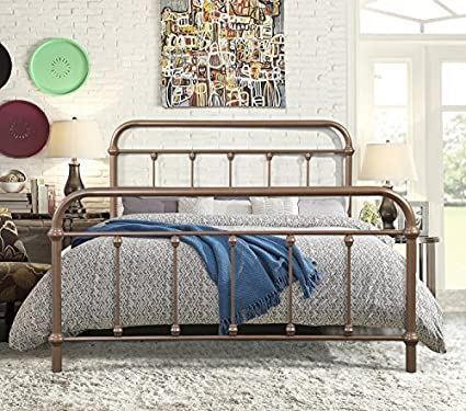 Merax Stylish Design Solid Metal Platform Bed Frame Mattress Foundation  With Headboard And Footboard, Bronze