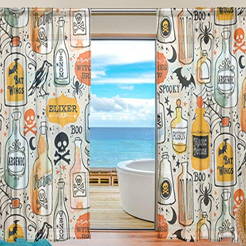 Vintage Potions Nurse Halloween Sheer Curtains 78 Inch Length Window Treatment Set 2 Panels -