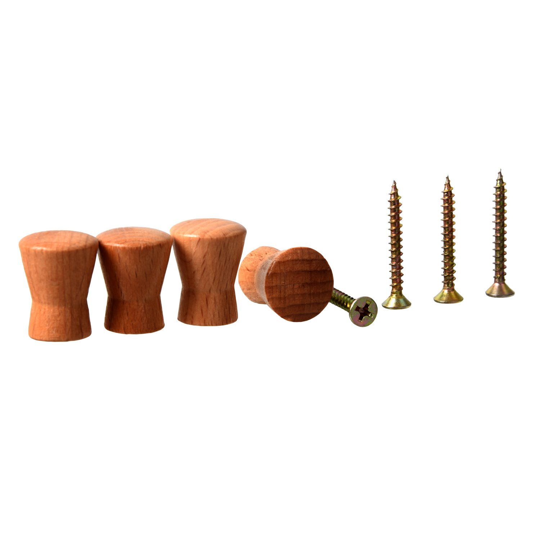 SODIAL(R) 4 Pcs 1.8cm Diameter Wood Cabinet Drawer Pull Knobs Handle