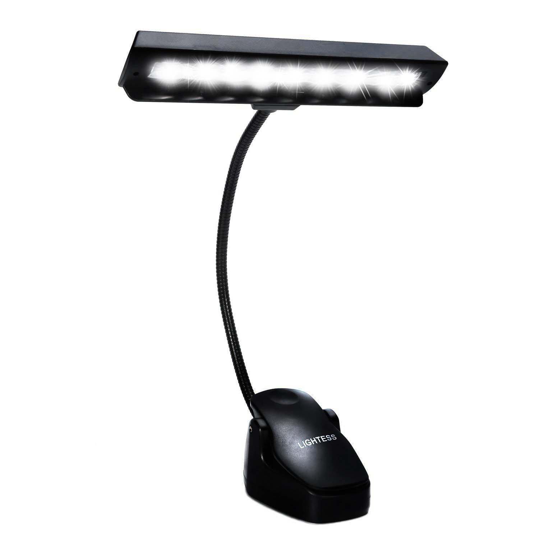Lightess Music Stand Light LED Clip on Book Lights Piano Reading Lamp USB Desk Lamp, Black