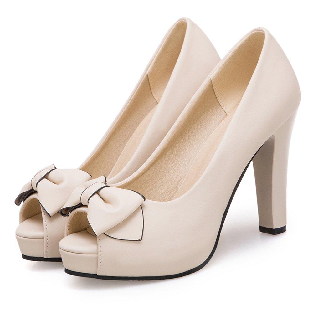 RAZAMAZA Mujer Zapatos Elegantes de Tacon Alto con Bowknot Beige Size 33  Asian  Amazon.es  Zapatos y complementos fc596afc94c0