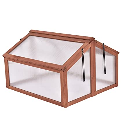 Amazon.com : Greenhouses Wooden Double Box Garden Cold Frame Raised ...