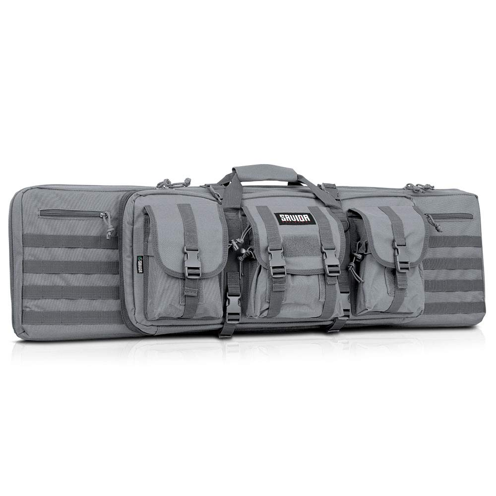 Savior Equipment American Classic Tactical Double Long Rifle Pistol Gun Bag Firearm Transportation Case w/Backpack - 42 Inch Ash Gray by Savior Equipment