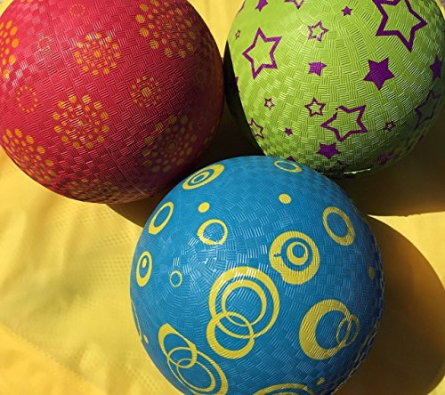 Pass 3-8.5'' OFFICIAL SIZE DODGE BALLS/PLAYGROUND KICK BALLS/MULTI-COLOR by Pass