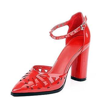 MUMA Zapatos de tacón Zapatos de primavera   verano nuevos para mujer  Sandalias Baotou Tacones rojos 536c8199ea68
