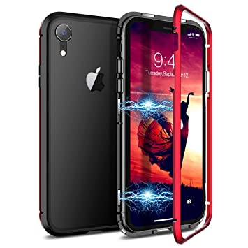 CE-Link Funda iPhone XR, Carcasa Fundas Magnética Cubierta de Trasera de Vidrio Templado Transparente con Metal Parachoque Imanes Incorporados 360 ...