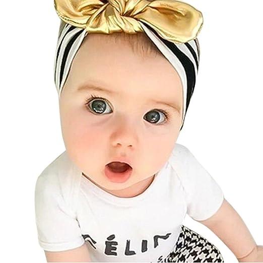 db15472f042d Amazon.com  Patgoal Baby Girl Headband Black Stripe Gold Bow Hair ...