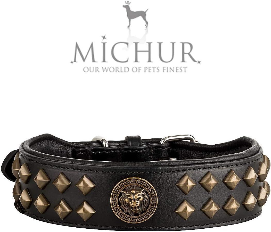 Collar de piel para perros de Michur Diego, negro, cabeza de león, remaches de latón, color dorado
