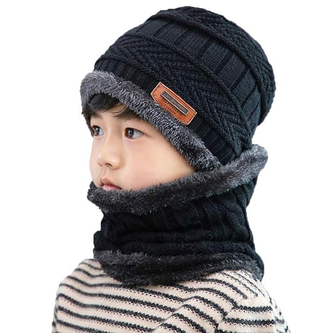 Amazon.com  XYIYI Kids Winter Knit Hat and Scarf Set c9b14787ff6e