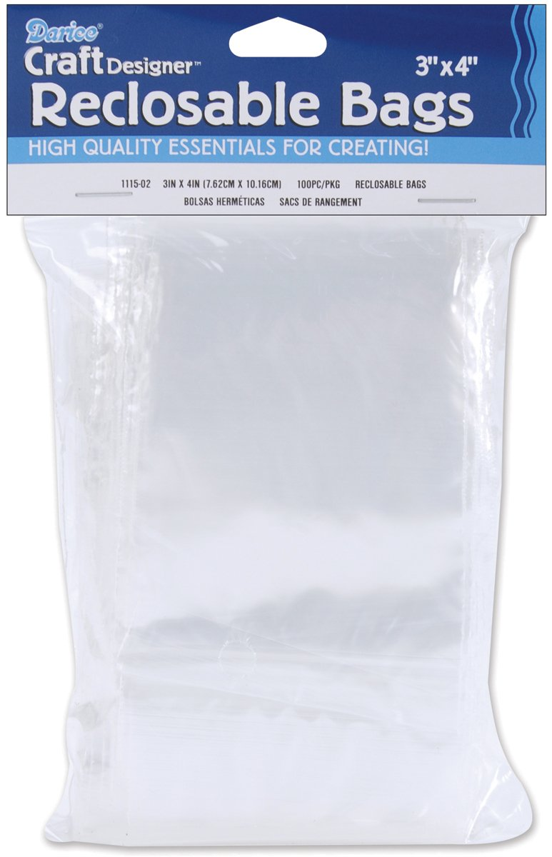 Darice Reclosable Storage Bags 3 Inch X4 Inch -100/Pkg