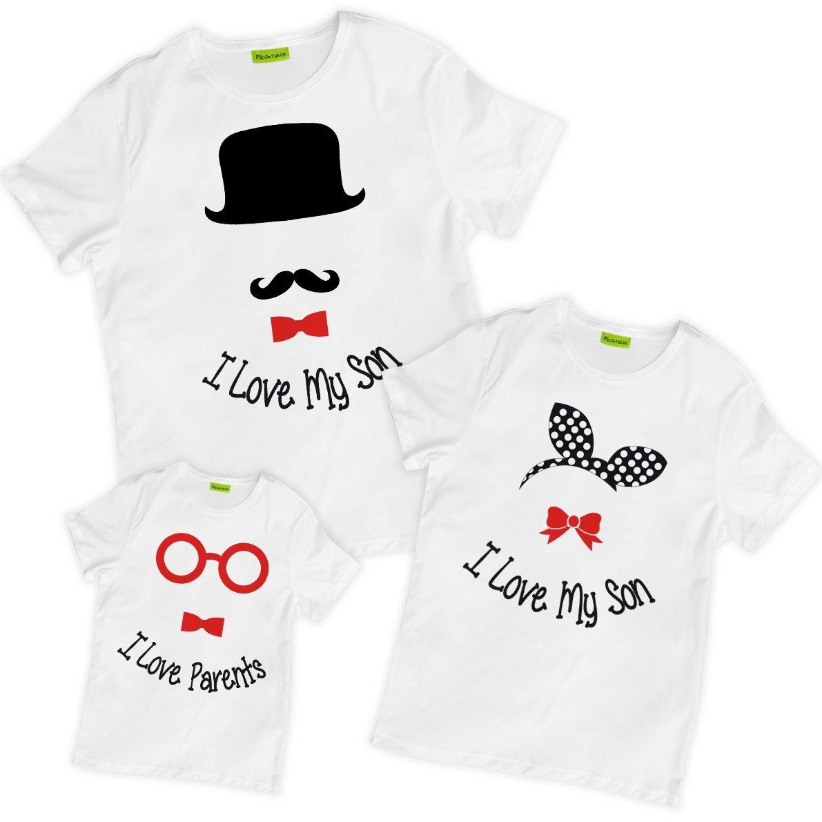 picontshirt Matching Family I Love My Son Parents Hat Ribbon Glasses T-Shirts White